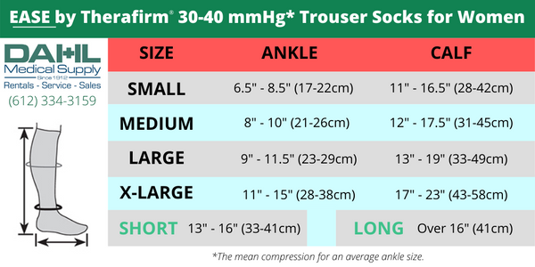30-40 mmHg Compression Trouser Sock for Women Sizing Chart