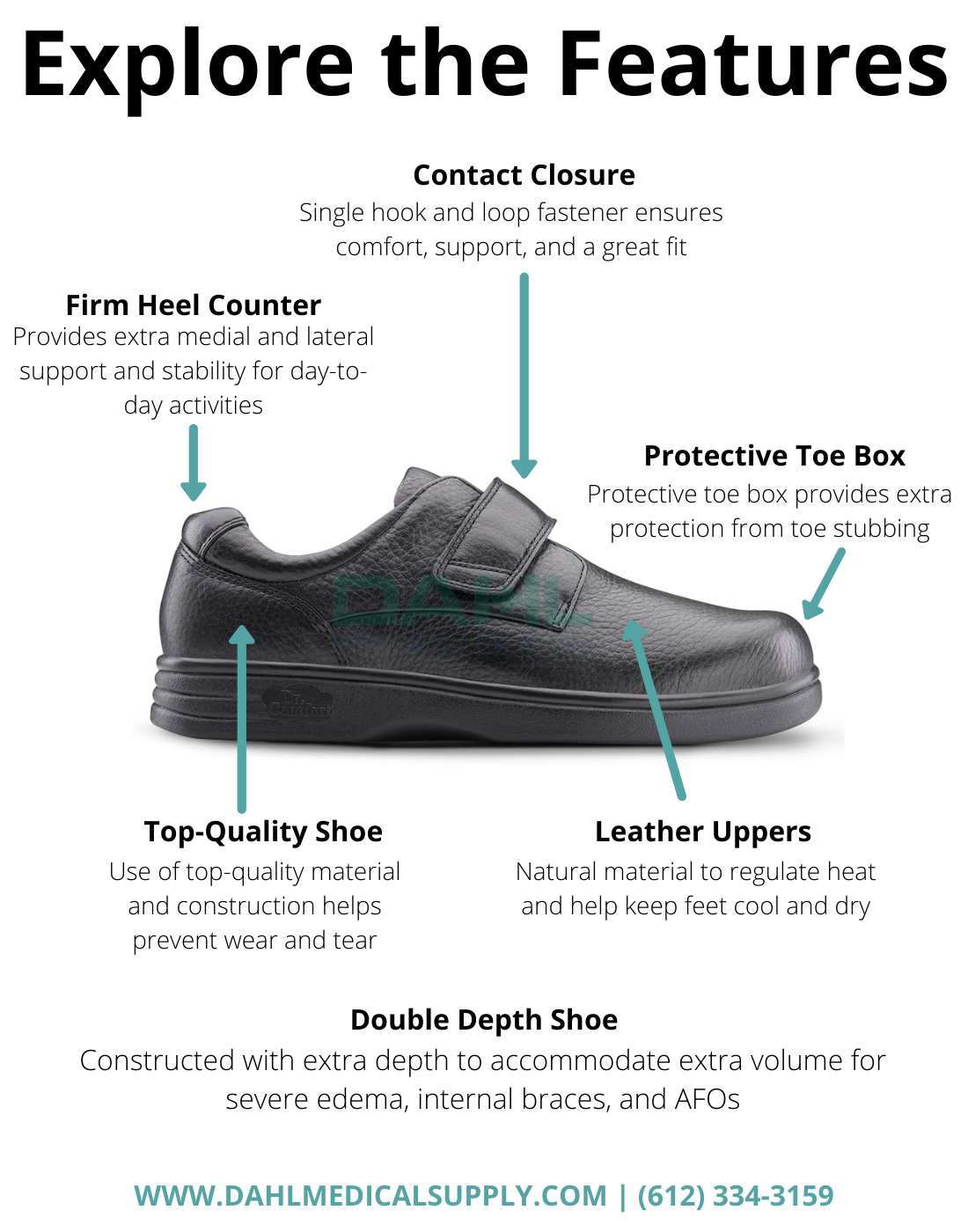 Dr.Comfort Maggy-X Double Depth Diabetic Shoe Features