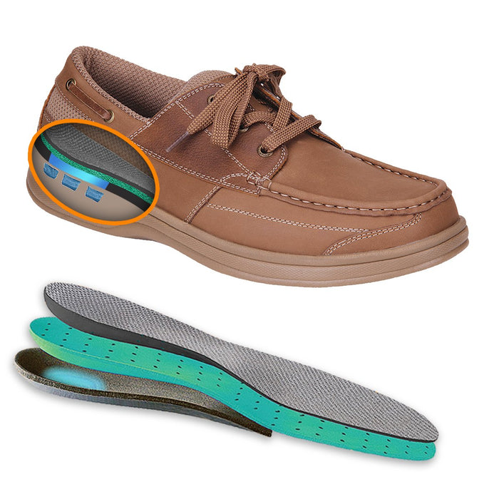 OrthoFeet Men's Baton Rouge Therapeutic Diabetic Boat Shoe, Sand- Shoe and Gel Insert Image