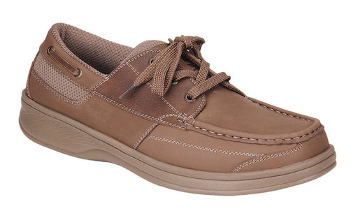 OrthoFeet Men's Baton Rouge Therapeutic Diabetic Boat Shoe, Sand- Main Image