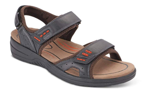OrthoFeet Cambria, Charcoal Men's Therapeutic Sandals - Main Image
