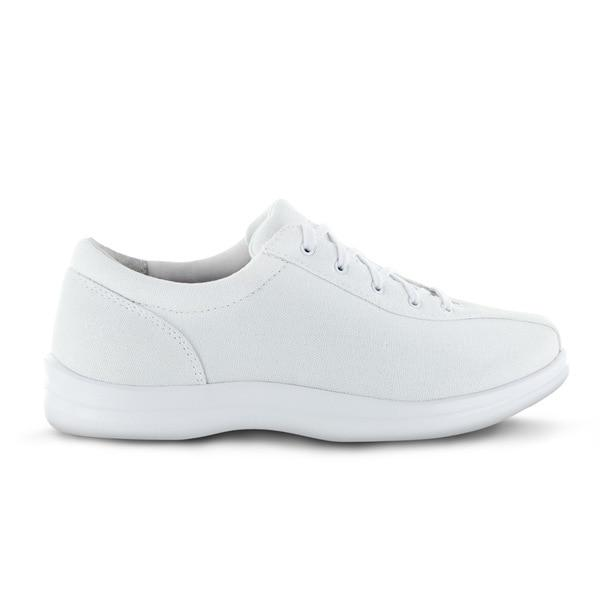 Apex Womens Ellen Causal Diabetic Shoe, White - Side View | Dahl Medical Supply