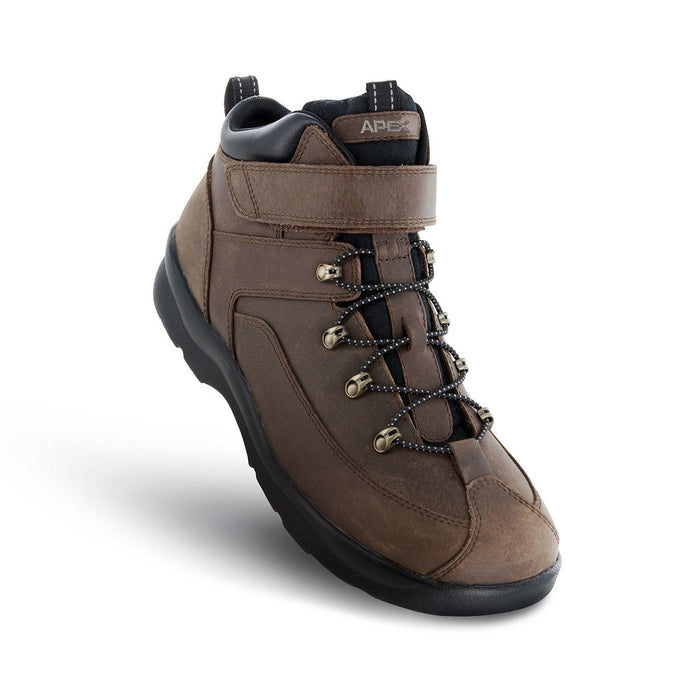 Apex Men's Ariya Diabetic Hiking Boot, Brown - Top View | Dahl Medial Supply