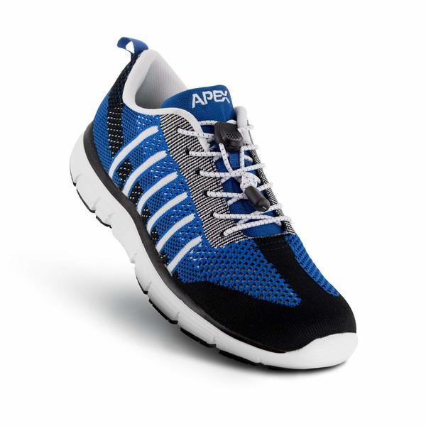 Apex Men's Bolt Knit A7000M Athletic Walking Shoe, Blue - Top Image