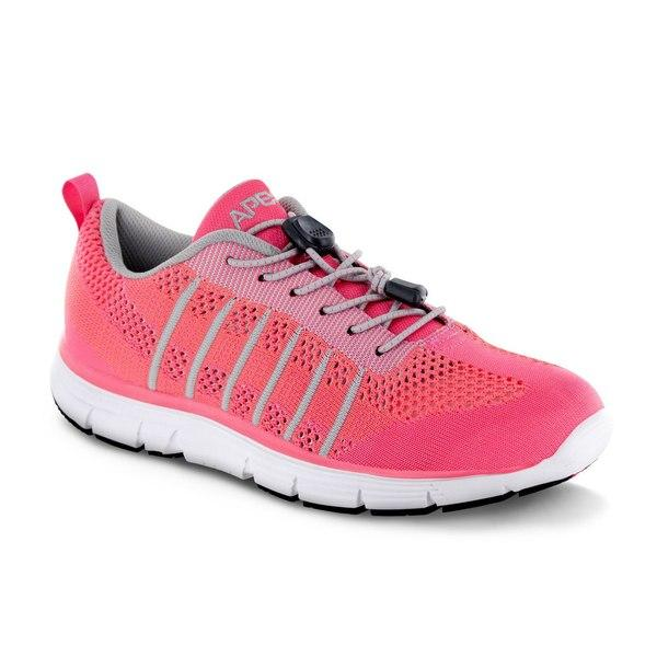 Apex Women's Breeze Knit Athletic Diabetic Shoe, Pink - Side View | Dahl Medical Supply