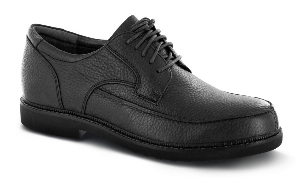 Apex Men's Classic Moc Toe Diabetic Dress Shoe, Black - Main Image | Dahl Medical Supply