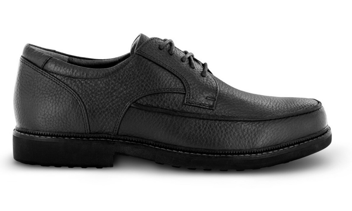 Apex Men's Classic Moc Toe Diabetic Dress Shoe, Black - Side Image | Dahl Medical Supply