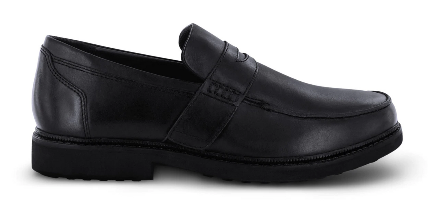 Apex Men's Classic Strap Loafer Dress Shoe, Black - Side Image | Dahl Medical Supply