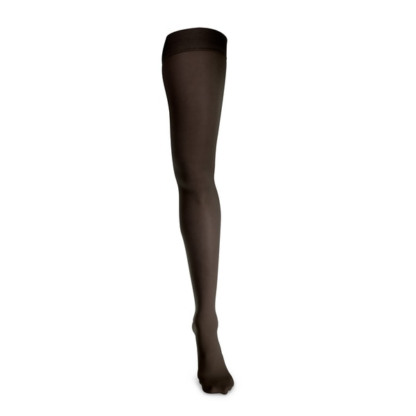 Apex Women's Sheer Vibrance Thigh High Compression Socks, Black Image 2 | Dahl Medical Supply