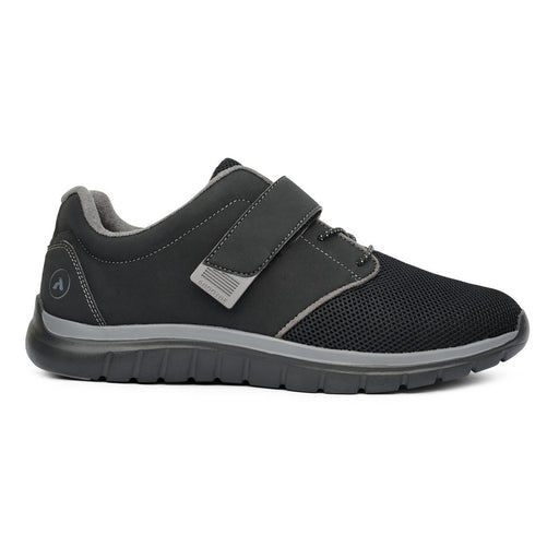 Anodyne No.46 Sport Jogger Men's Diabetic Shoe, Black - Right Side Image | Dahl Medical Supply