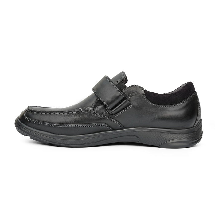 Anodyne Men's No.52 Casual Dress Therapeutic Diabetic Shoe, Black- Left Side View | Dahl Medical Supply