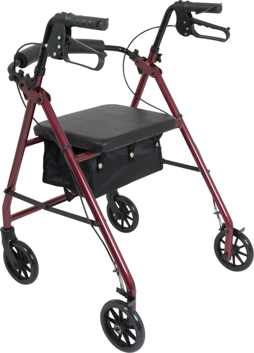 ProBasics Aluminum Rollator with 6-inch Wheels, Burgundy -  Side Image