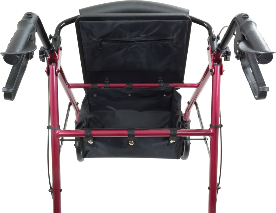 ProBasics Aluminum Rollator with 6-inch Wheels, Burgundy - Seat Open Image