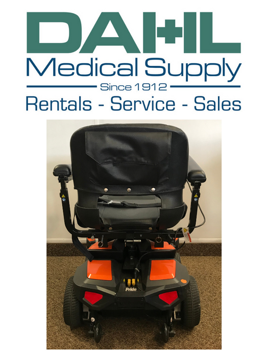 Pride Go Chair, Orange - Used, Back View | Dahl Medical Supply