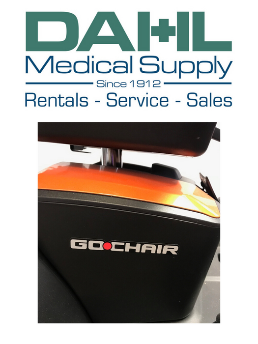 Pride Go Chair, Orange - Used, Logo View | Dahl Medical Supply
