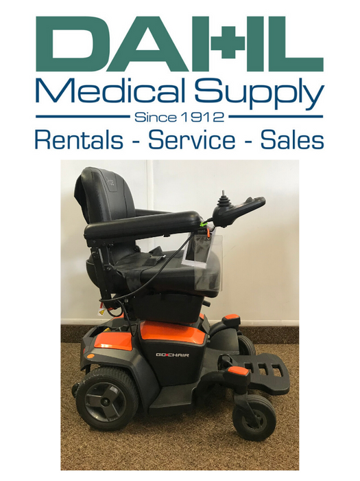Pride Go Chair, Orange - Used, Side View | Dahl Medical Supply