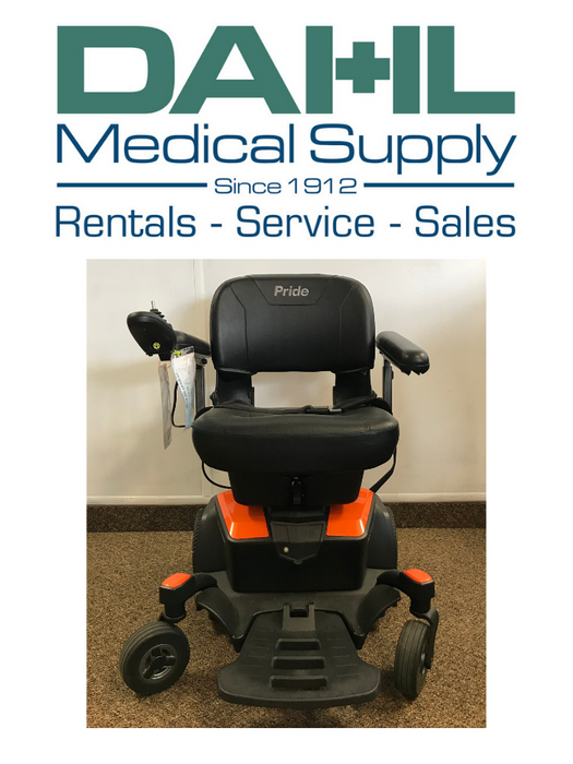 Pride Go Chair, Orange - Used, Front View | Dahl Medical Supply