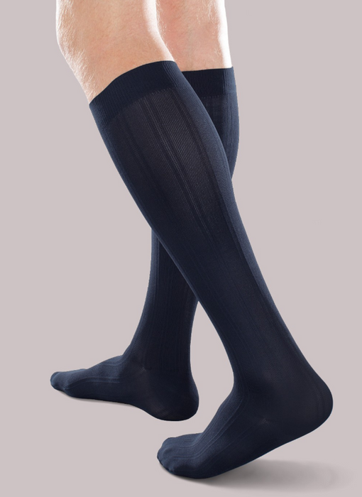 30-40mmHg* Therafirm Opaque Trouser Sock, Blue | Dahl Medical Supply