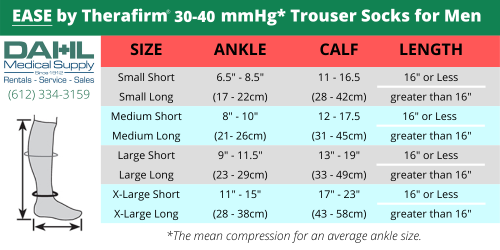 30-40mmHg* Therafirm Opaque Trouser Sock Men's Sizing Chart | Dahl Medical Supply