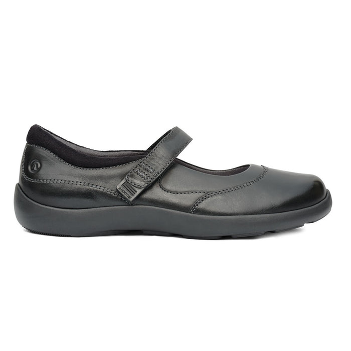 Diabetic Casual Mary Jane Shoe for Women, Black - Right Side Image | No. 19 | Anodyne