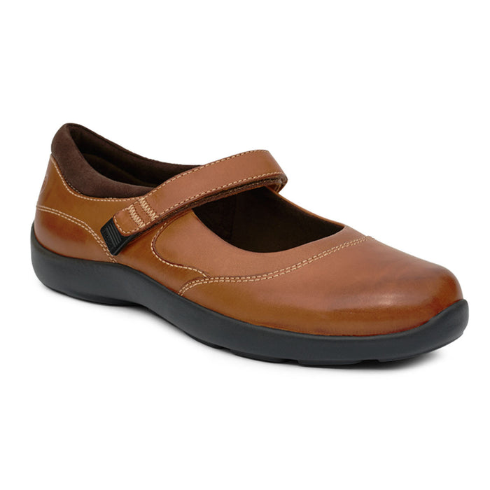 Diabetic Casual Mary Jane Shoe for Women, Cognac - Main Image | No. 19 | Anodyne