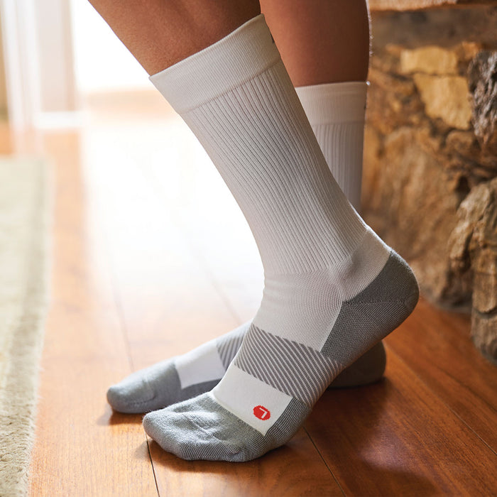 Anodyne Footwear No. 7 Crew Length Diabetic Socks, White - Model Image | www.dahlmedicalsupply.com