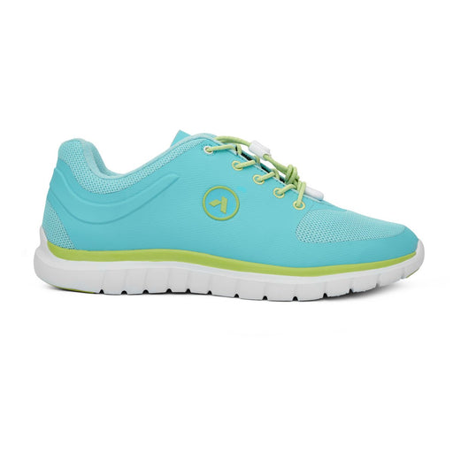 Anodyne Women's No.23 Therapeutic Diabetic Sport Runner, Teal/Lime - Right Side Image | Dahl Medical Supply