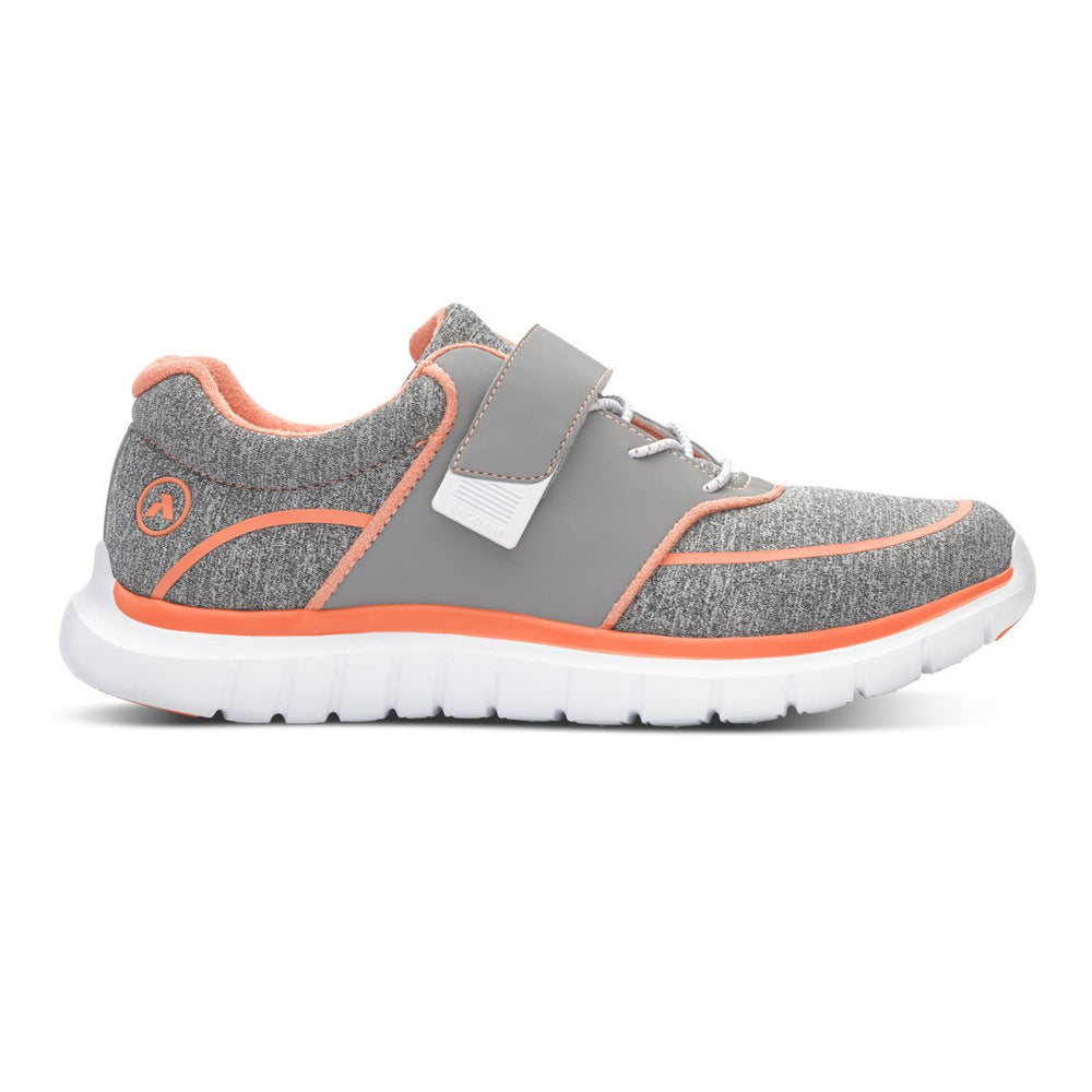 Anodyne Women's No.45 Therapeutic Diabetic Sport Jogger, Grey/Orange - Right Side Image | Dahl Medical Supply