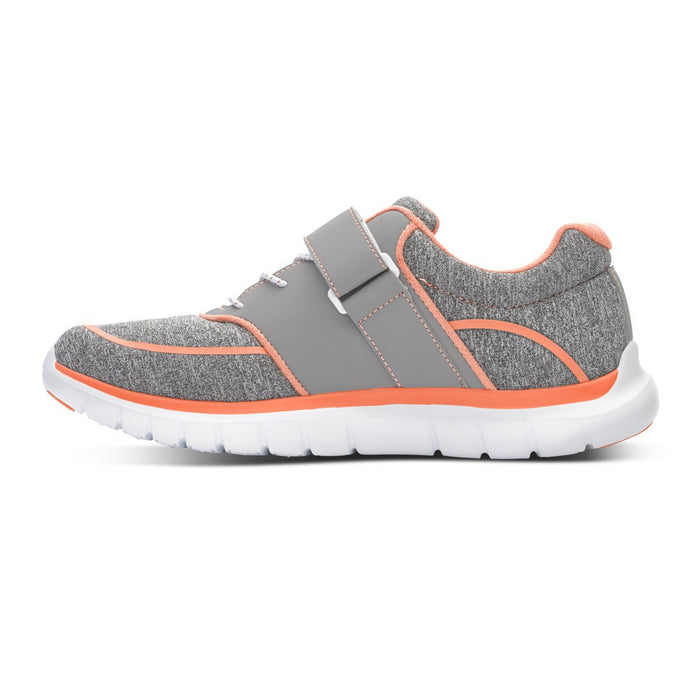 Anodyne Women's No.45 Therapeutic Diabetic Sport Jogger, Grey/Orange - Left Side Image | Dahl Medical Supply