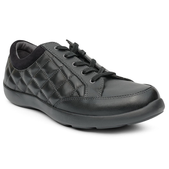 Anodyne No.75 Women's Therapeutic Diabetic Casual Sport Shoe, Black - front view | dahlmedicalsupply.com