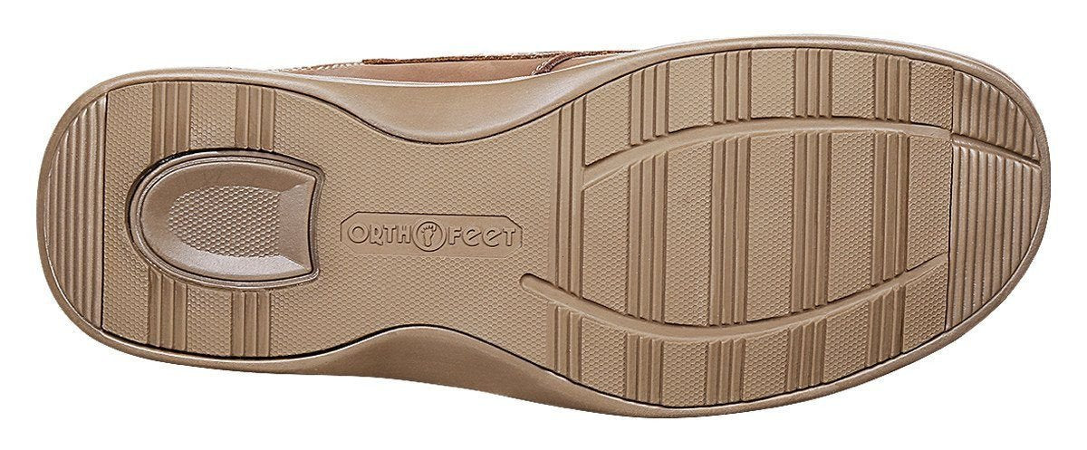 OrthoFeet Men's Baton Rouge Therapeutic Diabetic Boat Shoe, Sand- Sole Image
