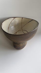 Large footed sculptural bowl