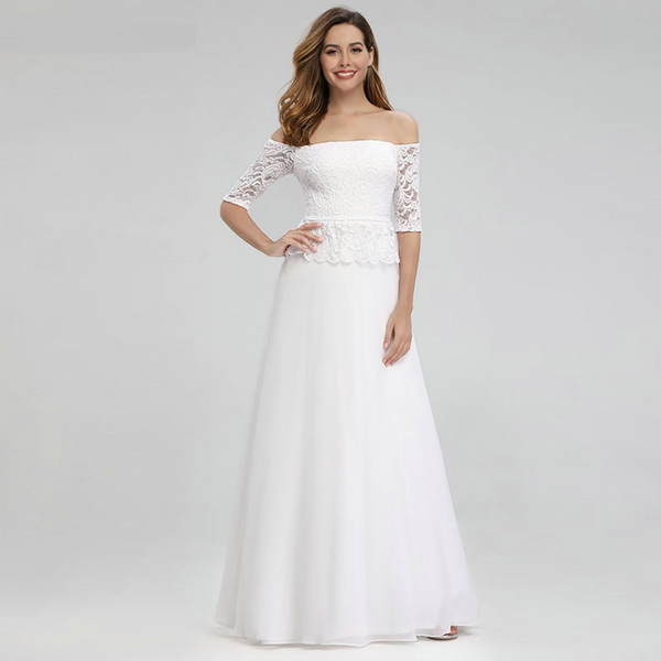 A-Line Off-The-Shoulder Wedding Dress with Sleeves