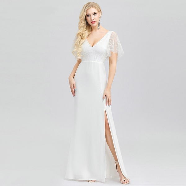 V-Neck Wedding Dress with Flutter Sleeves and a Slit