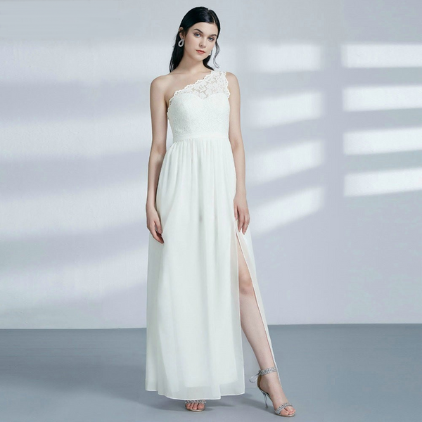 One-Shoulder Beach Wedding Dress with a Slit