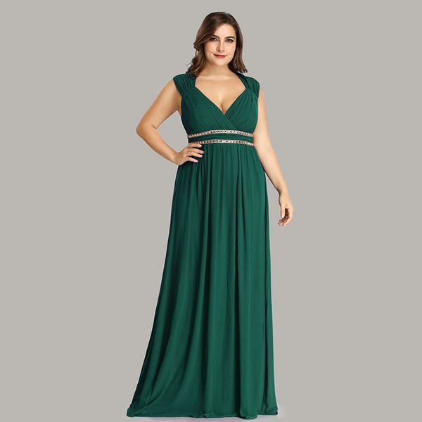Plus Size Empire Waist Evening Dress with Cap Sleeves and V-Neck
