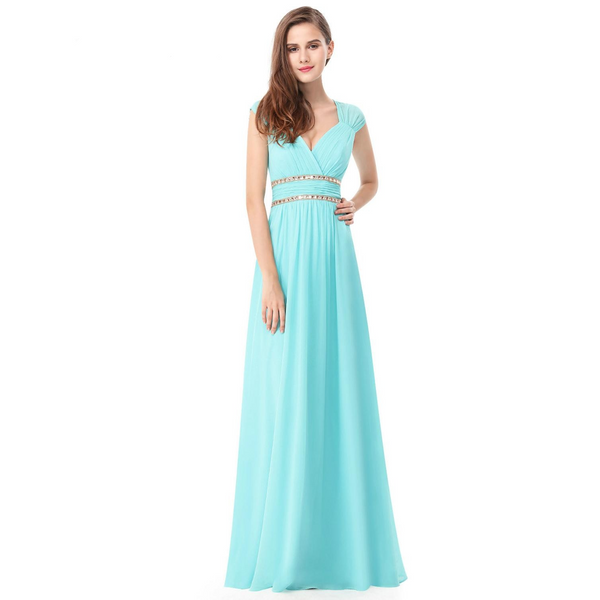 Empire Waist Evening Dress with Cap Sleeves and V-Neck