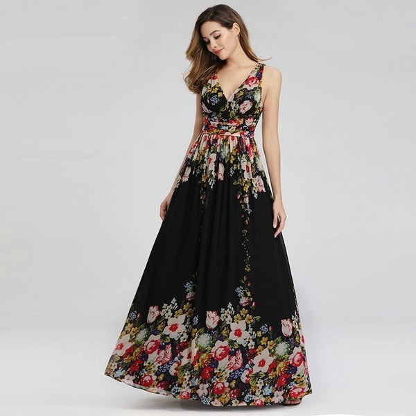 Black Empire Waist Evening Dress with Floral Print