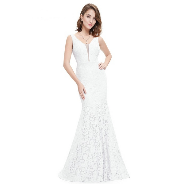 Lace Mermaid Wedding Dress with V-Neckline