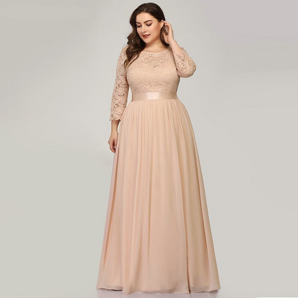 Long Empire Waist Evening Dress with Sleeves