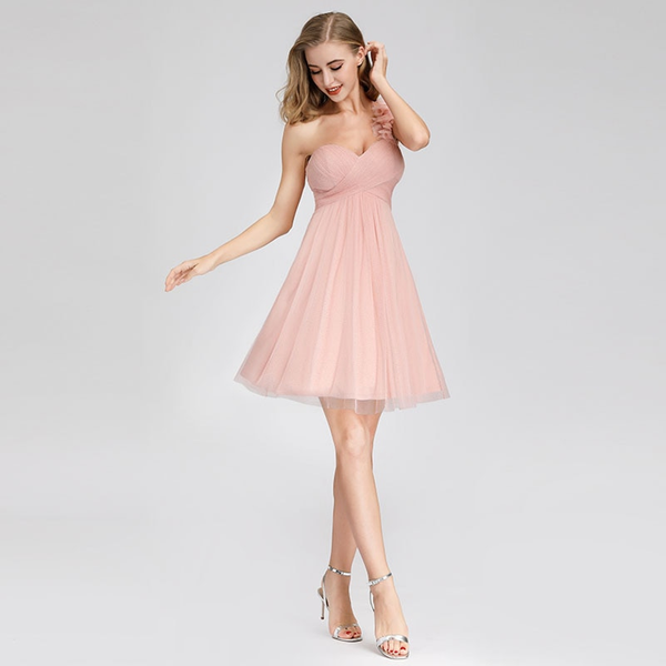 Pink One-Shoulder Cocktail Dress