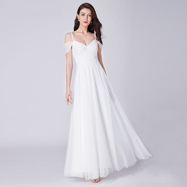 Simple Off-the-Shoulder A-line Wedding Dress