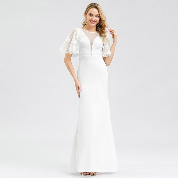 Mermaid Wedding Gown with Flutter Sleeves and Plunging Neckline