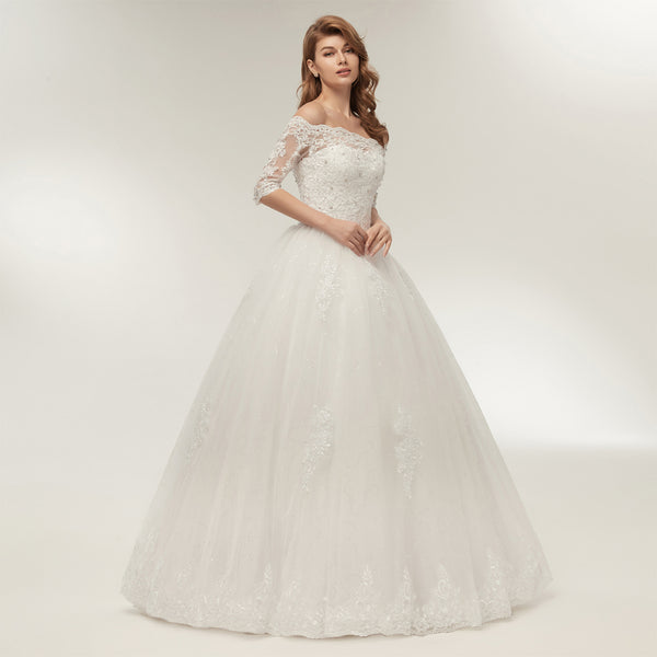 Off-the-Shoulder Bridal Gown with Sleeves
