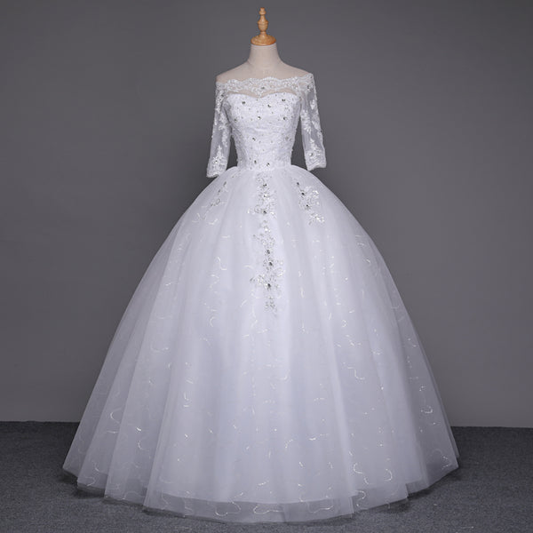 Ball Gown Wedding Dress with Sleeves and Open Shoulders