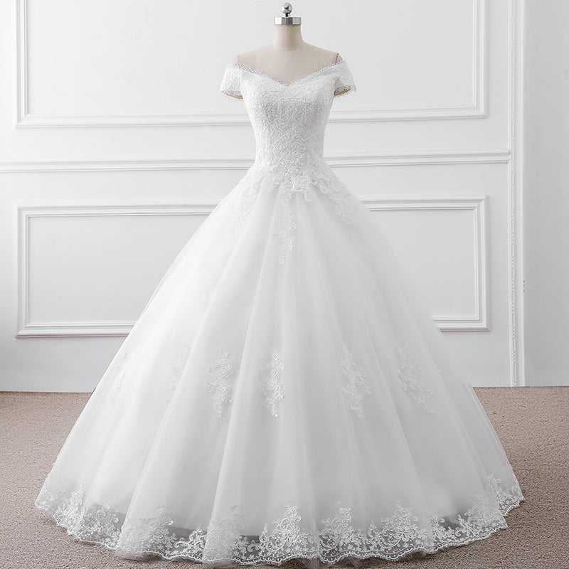 White/Off White off-the-shoulder bridal dress