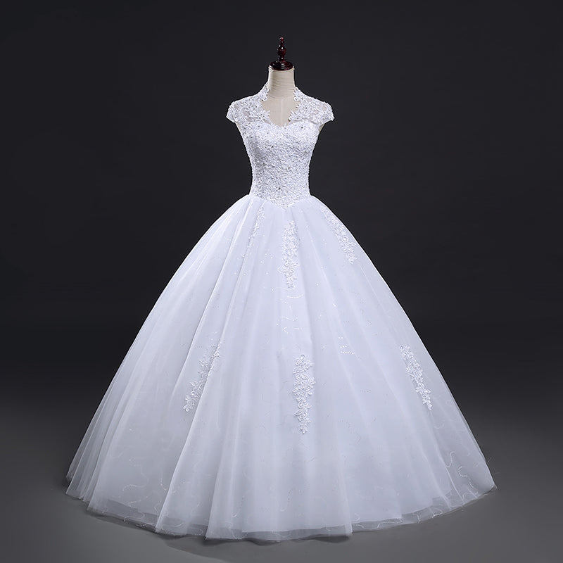 Ball gown wedding dress with cap sleeves