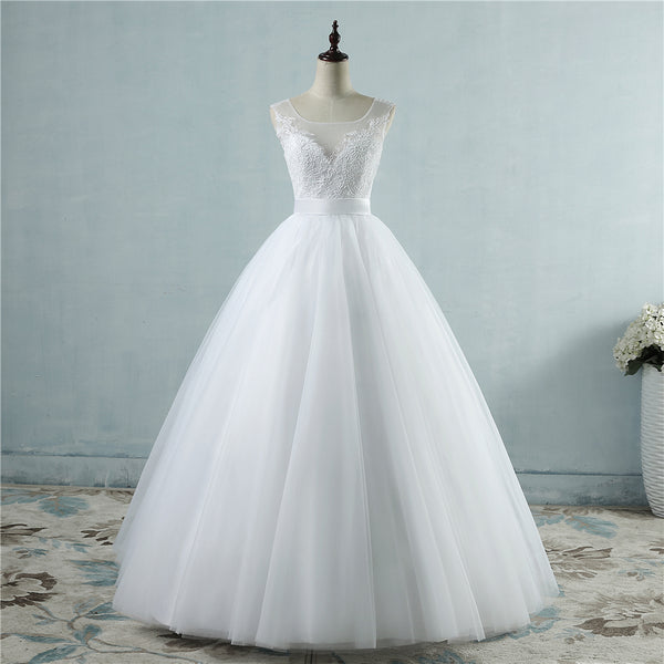 A-line Bridal Gown with Illusion Bodice