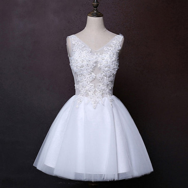 Sexy Short Wedding Dress with Illusion Bodice