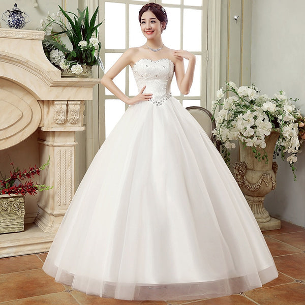 Strapless Princess Wedding Dress with Lace Sweetheart Bodice
